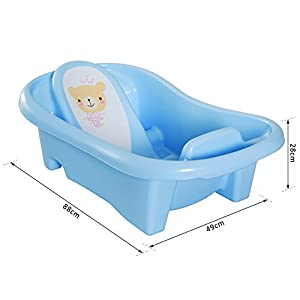 HOMCOM Anti-Slip PP Baby Bath Tub 2 Stage Infant Child Safe Seat Comfortable Backrest Suitable for 0-36 Month - Blue