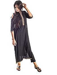 Bliss Black Rayon Cold Shoulder Straight Kurti