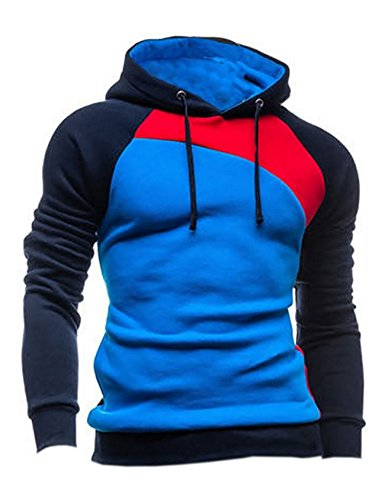 Herren 4-taste (Bestgift Herren T-Shirt Hoody Pullover Multi-Taste Hoodie Shirt Knopfleiste T-Shirt Dunkel Blau+Rot+Blau M)
