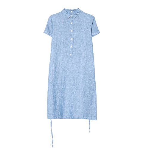 reine farbe casual, kurzärmeliges kleid, 2017 neue mitte länge - kragen - kleid XL Azul claro