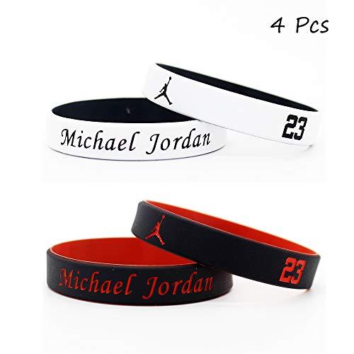 all Stern Unterschrift doppelte Farbe Fans Armbänder Sport absorbieren Schweiß Silikon Armband 4 Stück (Michael Jordan) ()
