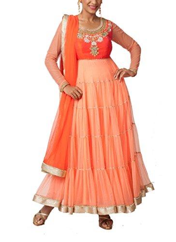 Pretty Tiered Anarkali stile abito da Neha gursahani/Indiano Designer anarkalis in seta grezza pesca 42