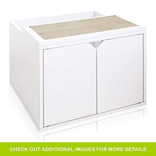 Way Basics Katzentoilette mit Türen, umweltfreundlich, modernes Design, ohne Werkzeug zu montieren, aus nachhaltigem, ungiftigem Zboard-Papier, Weiß (Montieren Werkzeug)