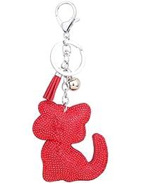 Amybria Tier Stil Katze Form Schlüsselanhänger Kristall Strass Schlüssel Zubehör Schlüsselring Legierung Karabinerverschluss Schlüsselwölbung Anhänger Dekoration Schlüsselhalter für Tasche Geldbörse Auto Rot