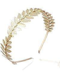 OULII Diosa romana hoja rama pelo novia delicada corona cabeza vestido Boho Alicia banda boda favores (oro)