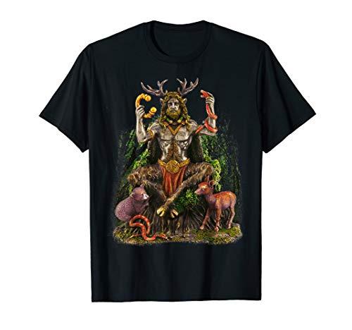 Göttin Grünen T-shirt (Cernunnos Celtic God Waldszene T-Shirt)