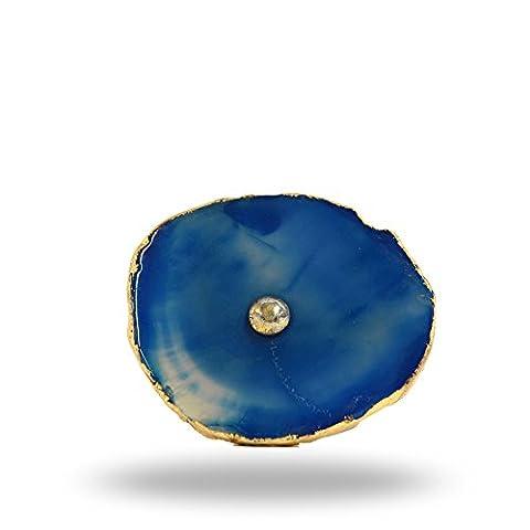 Barbarella (Homonymie) Agate Bouton avec Laiton matériel Bleu par Trinca-ferro