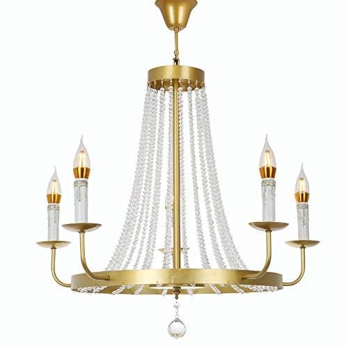 FEE-ZC Cristal Lustre Gold Einfache Transparent Moderne Glas Eisen Kunst Anhänger Deckenleuchte Beleuchtung Suspension für Esszimmer, 5 Head -