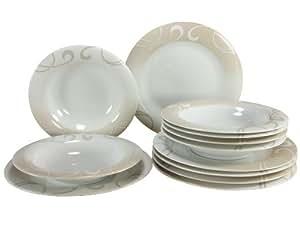 Creatable 19006 Série Soft Finesse Vaisselle Chine Multicolore 29 x 29 x 24,5 cm 12 Pièces
