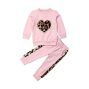 Carolilly 2 Piezas Bebé Traje Deportivo de Sudadera y Pantalones para Niña Conjunto de Camiseta Rosa y Pantalón Chándal… 14