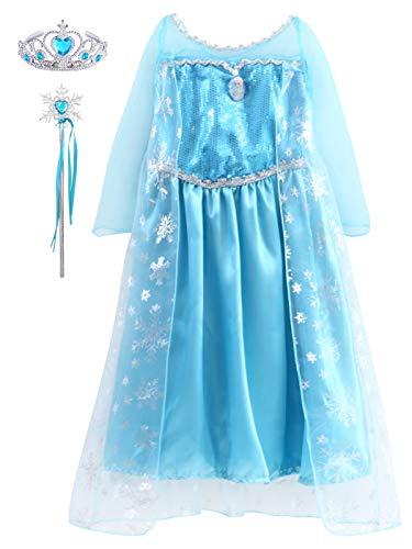 YONIER Regina Elsa Principessa Costume Halloween Abiti Carnevale Bambini Accessori Ragazze Principessa Abiti Partito Vestito Costume