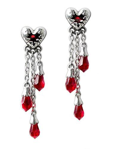 Alchemy Gothic Blutendes Herz Blut rot Kristall Drop Ohrringe (Blutendes Herz)
