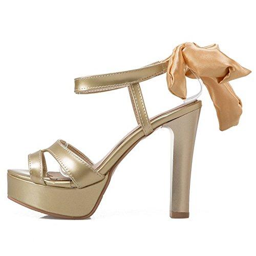 COOLCEPT Damen Mode Schnurung Sandalen Slingback Plateau Peep Toe Blockabsatz Schuhe Gold