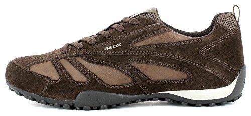 Geox U5207D Snake Sportlicher Herren Sneaker, Schnürhalbschuh, Freizeitschuh, Atmungsaktiv, Lose Einlegesohle, Wechselfußbett Brown