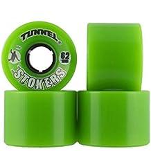 Longboard wheels (set 4).Ruedas skate longboard Tunnel. 62mm-78a Stokers green