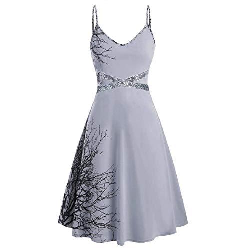 Bluelucon Frauen Plus Size Halloween Pailletten Print ärmelloses Leibchen Mini-Kleid Ärmelloses Halloween-Kleid mit Paillettenstickerei für Damen -