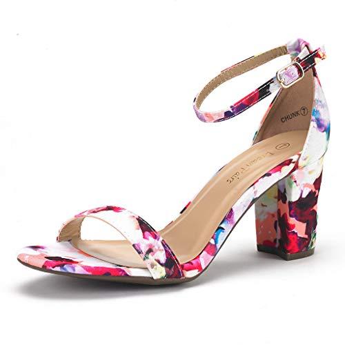 DREAM PAIRS Chunk Damen Sandalen mit Niedrigem Absatz Blumen 39.5 EU Floral Peep-toe-heels
