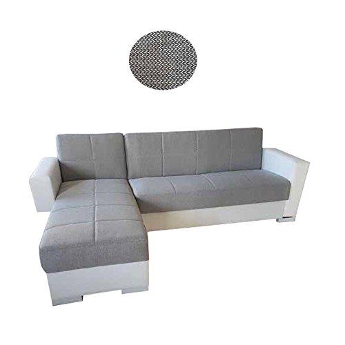 Esse italia divano letto angolare ecopelle bianca e tessuto c/contenitore 236x146xh.81 cm