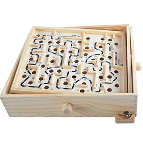 F-blue Juguetes educativos para niños de Rolling Cuentas Mando Giratorio de Madera Tarjeta Laberinto Juego de Pelota en Laberinto Puzzle Juguetes artesanales