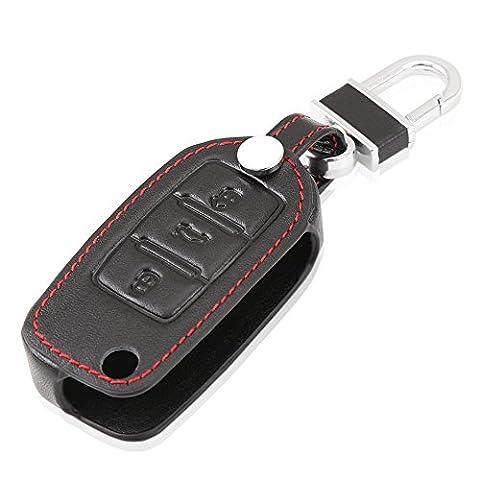 Happyit Auto Schlüssel Fällen für Volkswagen / Landbeat / Passat / Tiguan / Jetta / POLO / Bora / New Sutton etc Leder Key Set (Schwarz)