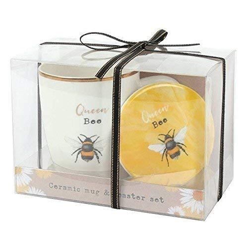 Königin Bee Mug und Coaster Set Tee Kaffeetasse Tasse vorhanden Mütter Tag Boxed Geschenk Mug Coaster Set