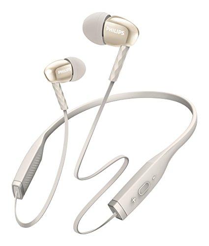 Philips SHB5950WT Casque Bluetooth Tour de cou Ergonomique avec Micro, Isolation Sonore, Câble Anti-noeuds, Blanc