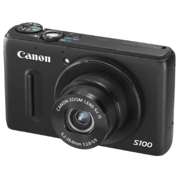 Canon PowerShot S100 Digital Camera - Black (12.1MP, Ultra Wide Angle, 5x Zoom) 3.0 inch LCD