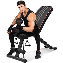 YOLEO Banc de Musculation Pliable Banc de Poids Gymnastique à Domicile Bureau, Dossier réglables en 7 Positions