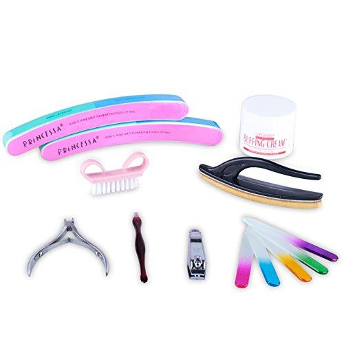 Gellen Nagelpflege Set Bürste + Glasfeile mit 5 verschiedenen Farben + 2 PCs 7 Seiten Feile+Hautschieber+tipcutter+Brush Buffer+Nagelknipser+Buffing Cream