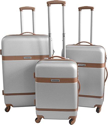 ABS Hartschalen Koffer Set von normani in verschiedenen Farben und Ausführungen Farbe RIBBON/SILBER