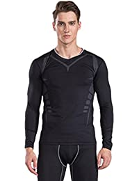 Yvelands Mens Quick-Drying Sports Fitness Stretch Running Manga Larga Transpirable Baloncesto Fitness Muscle Training