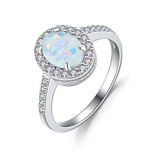 Weiß Opal Ringe Oval aus Silber 925 für Damen Ring Solitär Verlobungsring - Größe 54 mm