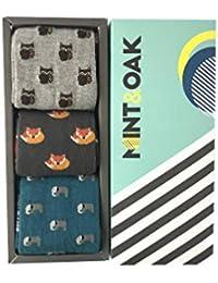 Mint & Oak Men's Cotton Socks Giftbox Pattern Gift Box of 3, (GIFT04_Multi_Free Size_Giftbox)
