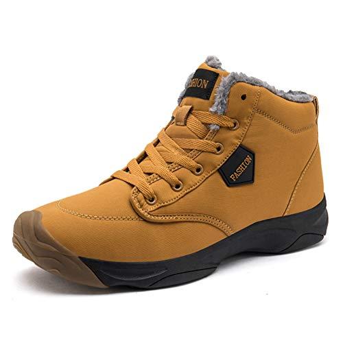 populalar Damen Herren Schuhe Kurze Schneestiefel Winterschuhe Warm Gefüttert Freizeit Schuhe Schnür Boots Outdoor Schwarz Blau Braunes Pulver 36-46EU - Braune Gut