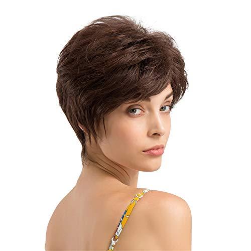Perücken damen Kurze lockige Haare Frisur Echthaarperücken für schöne und großzügige