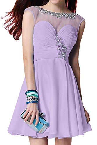 TOSKANA BRAUT Hellblau Damen Rund Chiffon Perlen Strass Kurz Herzform Partykleider Cocktail Promkleider Abendkleider Lilac