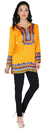 Indian Kurti Top Tunique Imprimé Femmes Blouse Inde Vêtements Jaune