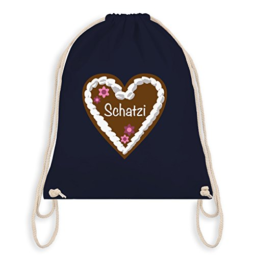 Oktoberfest Damen - Lebkuchenherz Schatzi - Turnbeutel I Gym Bag Navy Blau