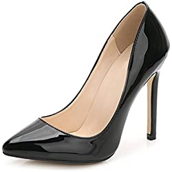 OCHENTA -11CM Zapatos de Tacón de Aguja Puntiagudo Punta Cerrada Diseño Elegante Modo para Fiesta y Boda para Mujer Negro Asiatique 45-EU 43