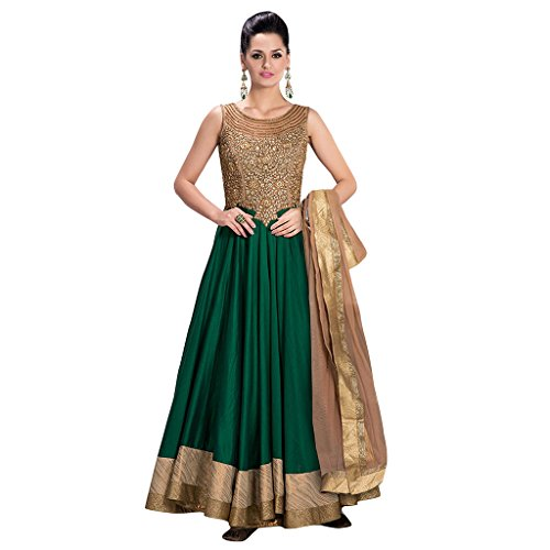 1 Stop Fashion New Green Colour Banglori Silk With Heavy Embroidery & Border Work Anarkali Suit  available at amazon for Rs.999