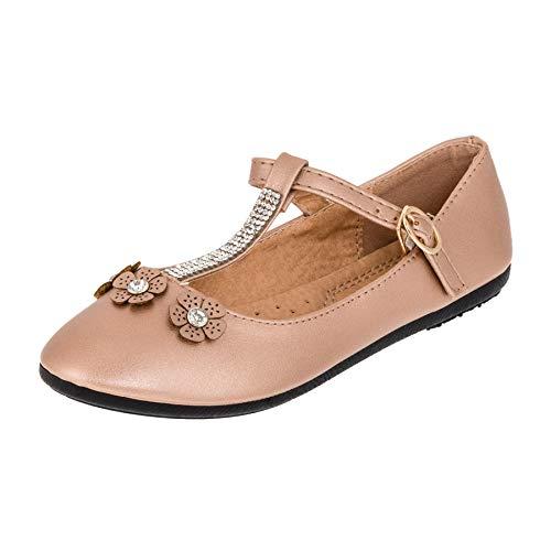 2c35f4e9930ccb Bo Aime Festliche Kinder Mädchen Ballerinas Schuhe mit Zierblumen und  Strass M510ch Champagner 34 EU