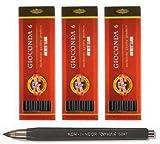 KOH-I-NOOR 3er Zeichenkohleset+Kreidehalter 5,6mm / 120mm hart/mittel/weich Gioconda schwarz