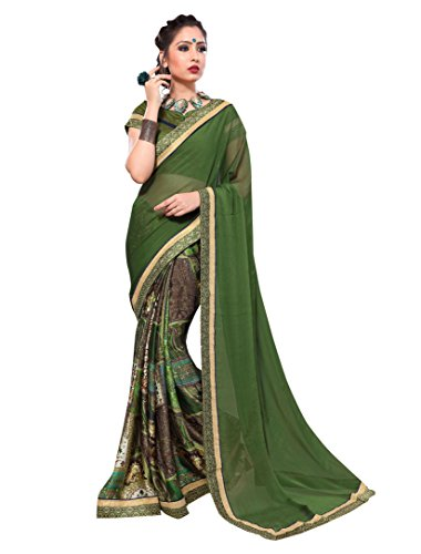 Viva n Diva Sarees for Women's Green Royal Satin + Chiffon Color...