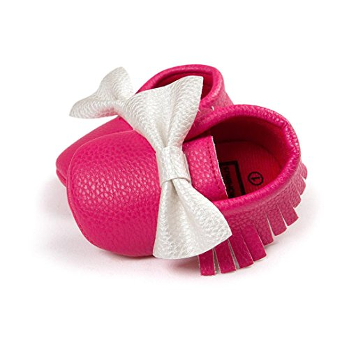Hunpta Babyschuhe Mädchen Jungen Lauflernschuhe Kleinkind Baby Bowknot Quasten Schuhe weiche Sohle Turnschuhe Freizeitschuhe (12, Rot) Hot Pink