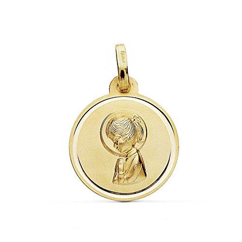 Medalla Oro 9K Virgen Niña Bisel 16mm. Unisex Colgante Rendondo Liso - Personalizable - Grabación Incluida En El Precio