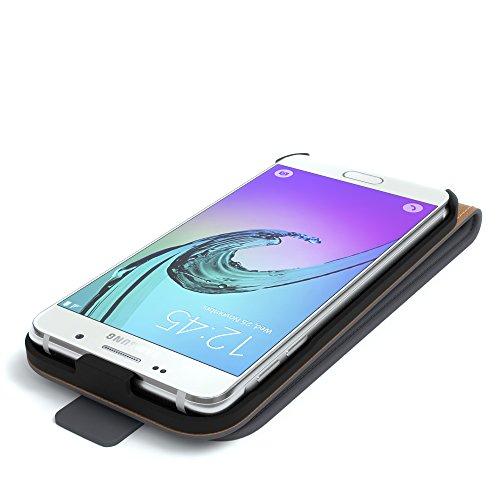 Samsung Galaxy A5 (2016) Hülle - EAZY CASE Premium Flip Case Handyhülle - Schutzhülle aus Leder zum Aufklappen in Dunkelblau Anthrazit