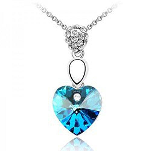 Collier coeur cristal swarovski elements plaqué or blanc Bleu turquoise