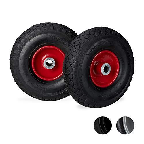 Relaxdays Roue de diable roue brouette set 2, roue de rechange axe, caoutchouc 3.00-4, 200 kg, 260 x 85 mm,noir rouge