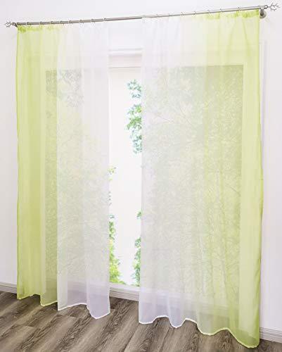 EZ GLAM Gardinen mit Verlauf-Farben Muster Schön Transparent Voile 2PC Vorhänge (B*H 140 * 175cm, Grün mit Kräuselband)
