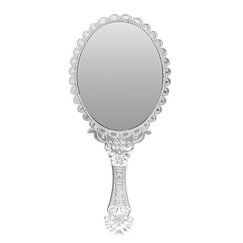 Bluelover Vintage Repousse Oval Make-Up Blumenspiegel Handspiegel Silber Kosmetik